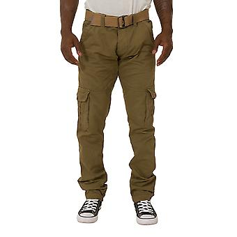 Men's Cargo Trousers with belt  - Khaki Slim fit Combat Pants with cargo pockets