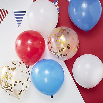 Royal Wedding RED WHITE BLUE & GOLD CONFETTI BALLOONS x 8