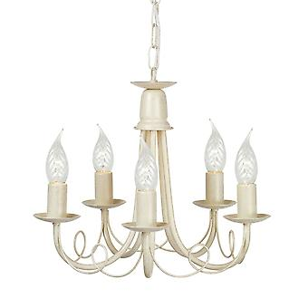 Elstead Lighting Minster Five Arm Ivory And Gold Chandelier