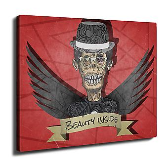 Hipster Zombie Wall Art Canvas 50cm x 30cm | Wellcoda