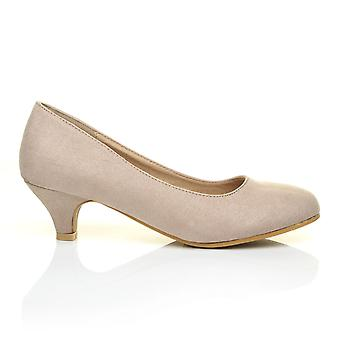 CHARM Nude Faux Suede Low Heel Round Toe Comfort Court Shoes