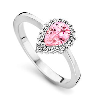 Orphelia Silber 925 Ring Tropfen rosa Farbe Zirkon ZR-7226/PI