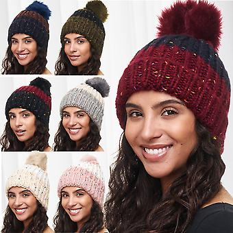 Ladies Hat Colorful Meliert Beanie Bommel Cap Knitted Hat Pattern Rainbow