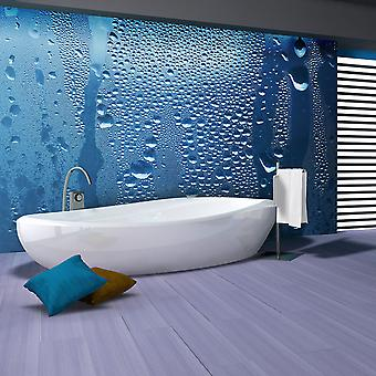 Wallpaper - Water drops on blue glass