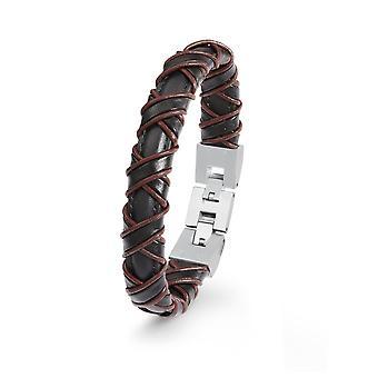 s.Oliver jewel mens leather bracelet Brown stainless steel 2022617