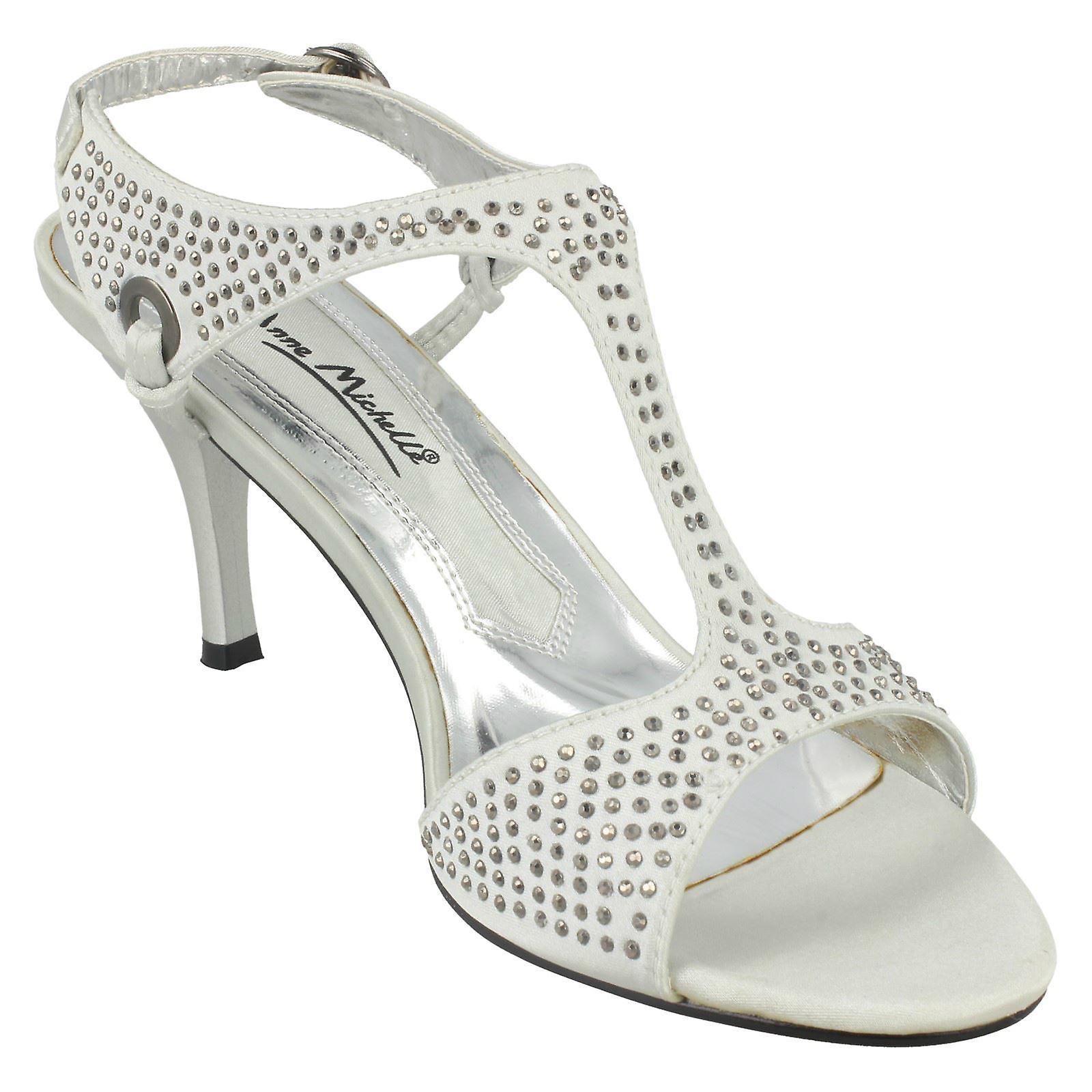 Ladies Size 6 Anne Studded Silver Kitten Michelle Size EU 8 US Size Open UK Satin 39 Heel Sandal Toe L3303 xxwrOR