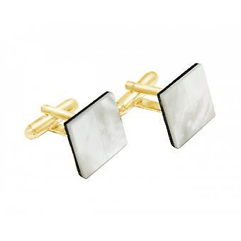 Män - manschettknappar - guldpläterad 16 mm - pärlemor - vit-