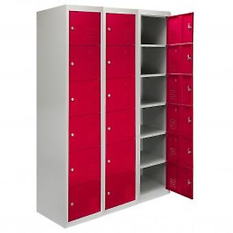 3 x Metal Storage Lockers - Six Doors, Red - Flatpack