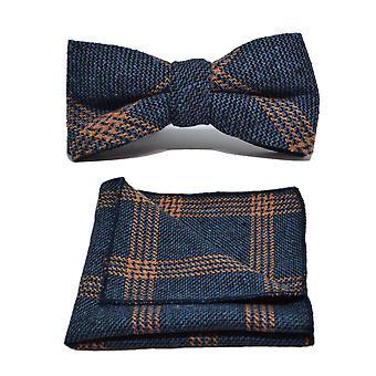 Dril de algodón azul y naranja Birdseye Compruebe conjunto Plaza pajarita y bolsillo