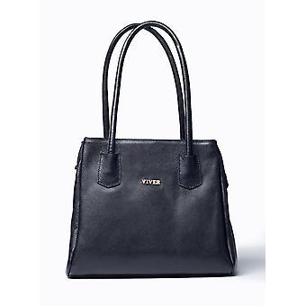 Viver Athena Black Leather Shoulder Bag