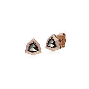 Gemondo Rose Gold Plated Sterling Silver Shield Marcasite Stud Earrings