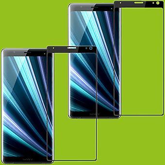 Für Sony Xperia XA3 2x 4D Premium 0,3 mm H9 Curved Hart Glas Schwarz Folie Schutz Hülle Neu