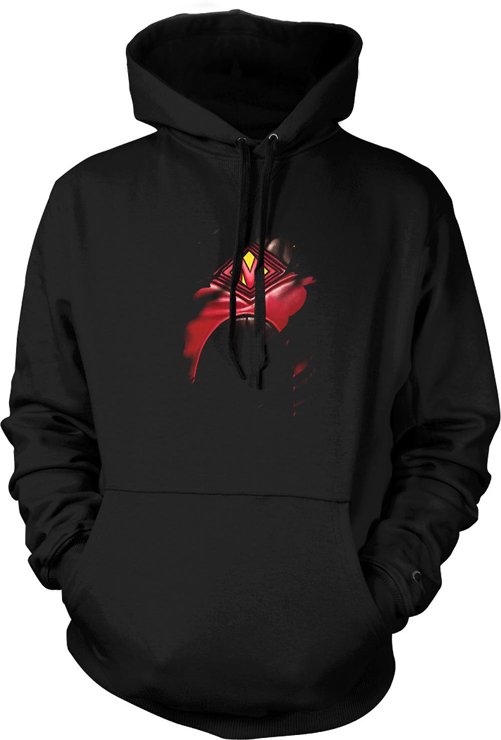Mens Hoodie - Red Mist Ripped Design - Kickass Inspired Superhero