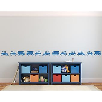 Set of Construction Vehicles Trucks Diggers Tractors Removable Wall Stickers