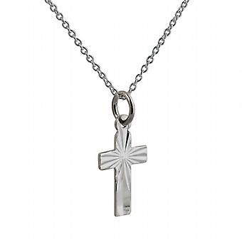 Silber 15x11mm Diamant Schnitt Sunray flach lateinisches Kreuz mit einem Rolo Kette 22 Zoll