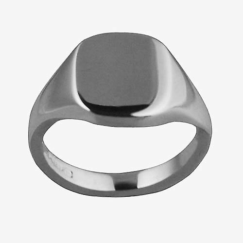 Platinum 950 12x10mm solid plain cushion Signet Ring Size L