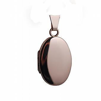 9ct Rose Gold 22x15mm plain oval Locket