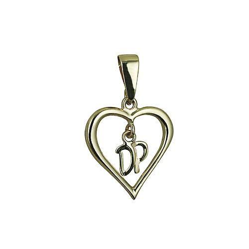 9ct Gold 18x18mm heart with hanging Initials DP Pendant with bail