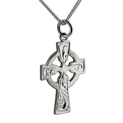 Silver 28x20mm hand engraved Celtic Cross with a curb Chain 20 inches