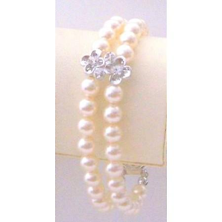 Wedding Double Stranded Ivory Pearls Silver Flower Rondells Bracelet