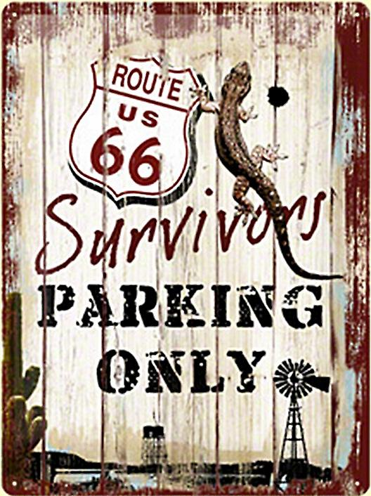 Route 66 Survivors Parking Only embossed large metal sign  (NA3040)