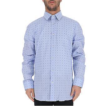 Camisa de algodão azul luz Gucci