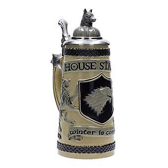 Jeu de tankard trônes maison Stark hiver est venir naturel/noir, en grès, en coffret cadeau, capacité env. 500 ml...