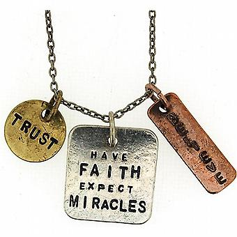 Have Faith  Expect Miracles.. Triple Charm Tag Pendant 16