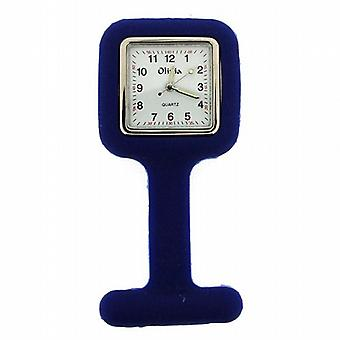The Olivia Blue Square Infection Control Rubber Nurses Fob Watch