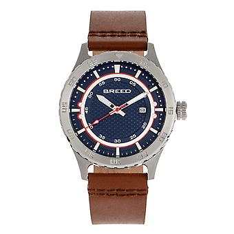 Breed Mechanic Leather-Band Watch w/Date - Navy