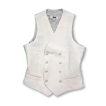 Joseph Abboud double breasted pique waistcoat in ivory/cream