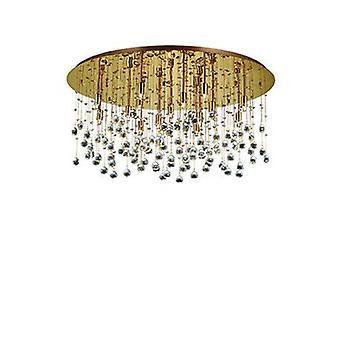 15 lumière extra large semi Flush plafond pendentif or