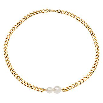 Gemshine necklace with white studded pearls in silver or high-quality gold plated