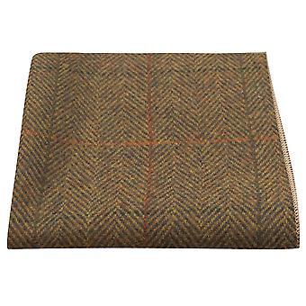 Luxe Dijon Herringbone Check zak plein, zakdoek, Tweed