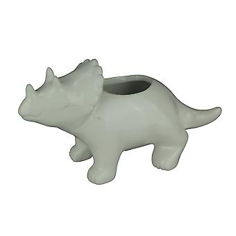 White Ceramic Triceratops Dinosaur Jurassic Decor Planter