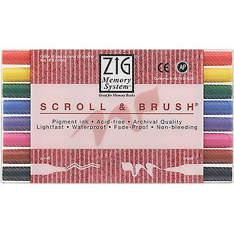 Zig Memory System Scroll & Brush Dual Tip Markers 8 Pkg Ms50008v