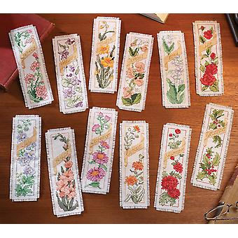 Flowers Of The Month Bookmarks Counted Cross Stitch Kit 2 1 4