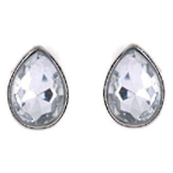 Clip On Earrings Store Clear Facet Crystal Stone Teardrop Clip On Earrings