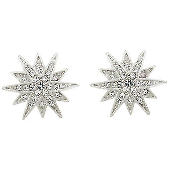 Kenneth Jay Lane Silver and Crystal Starburst Clip on Earrings