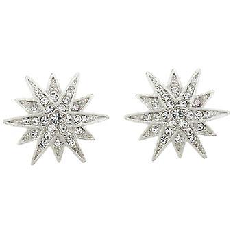 Orecchini a Clip Kenneth Jay Lane argento e cristallo Starburst