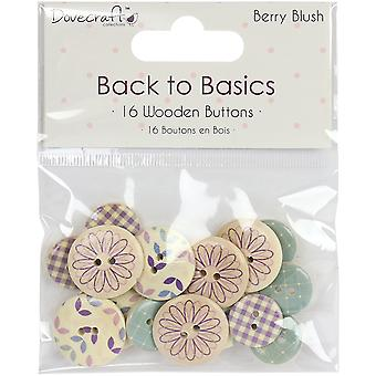 Dovecraft Back To Basics Berry Blush Wooden Buttons 16/Pkg-Printed Round DCBTN011