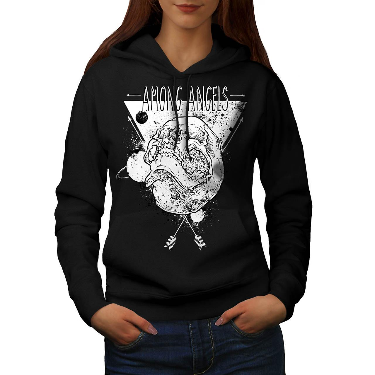 Among Angel Skull Heaven Hell Women Black Hoodie | Wellcoda