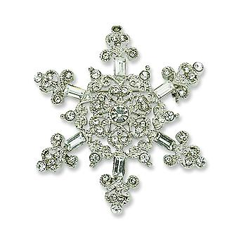 Zilver-tone Crystal Snowflake Pin