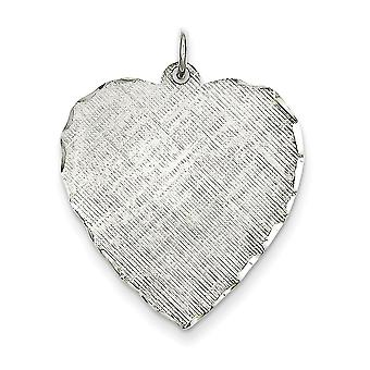Sterling Silver Solid Polished Engravable (back only) Engraveable Heart Patterned Disc Charm