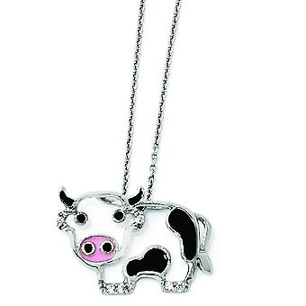 Sterling Silver CZ Enamel Cow 18 Inch Necklace - 18 Inch