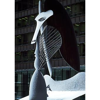 Monumental sculpture in front of a building Chicago Picasso Daley Plaza Chicago Cook County Illinois USA Poster Print