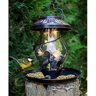 Copper Finish Illuminating Solar Powered Bird Feeder In A Presentation Box