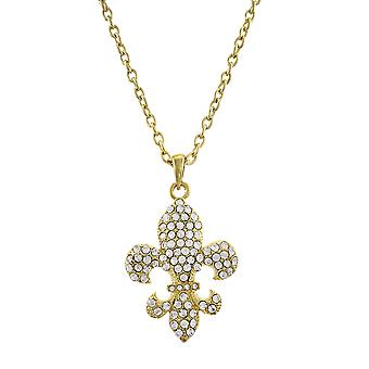 Gold Tone Rhinestone Fleur de Lis Necklace 28 In.