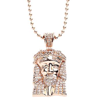 Iced out bling micro collier pave - MINI Jésus or rose
