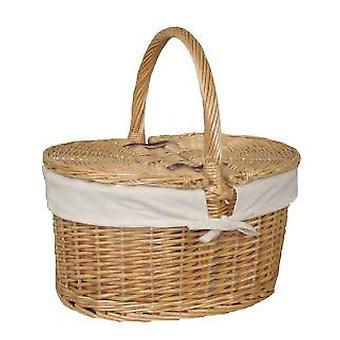 Cotton Lined Buff Oval Picnic Basket
